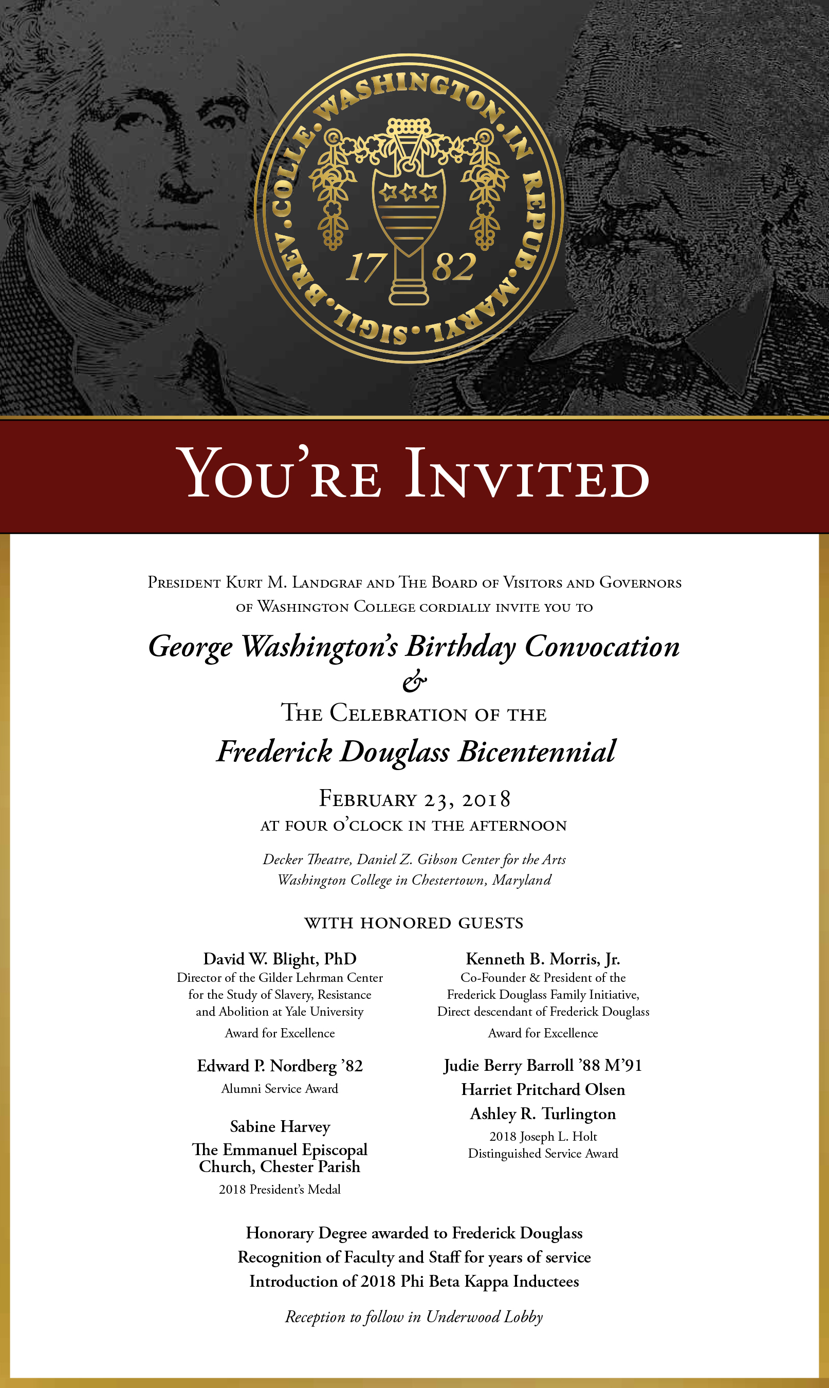 George Washington's Birthday Convocation and The Celebration of the Frederick Douglass Bicentennial