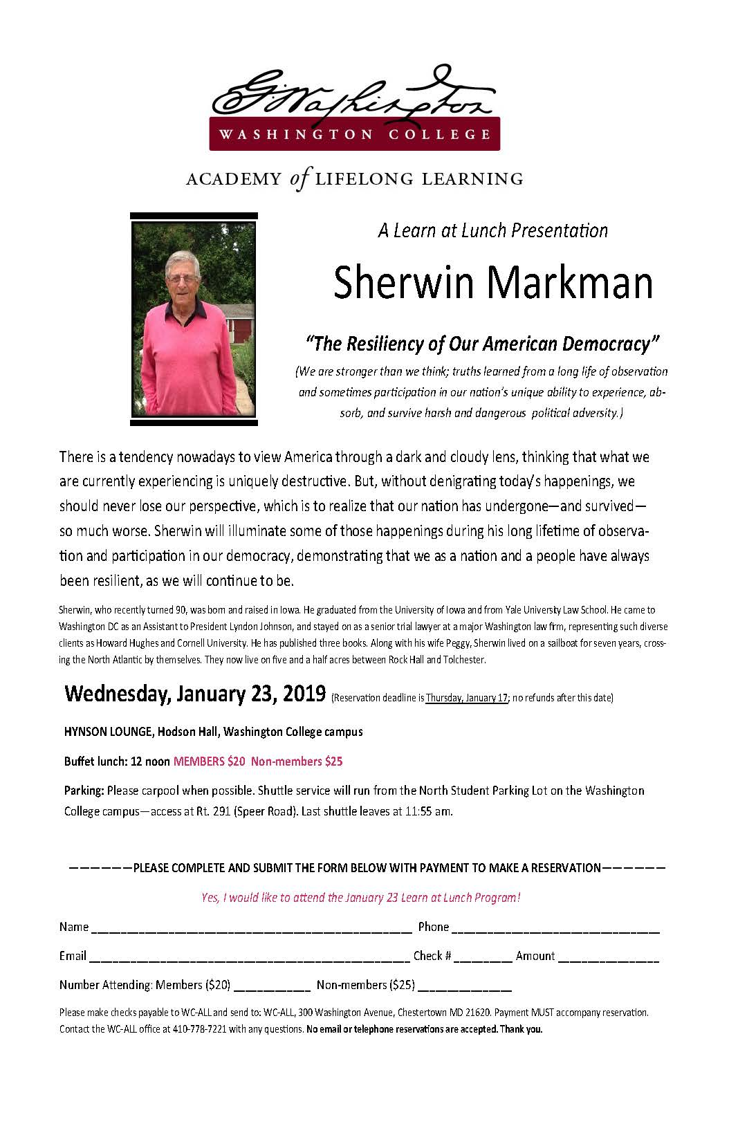 "WC-ALL Learn @ Lunch A Presentation by Sherwin Markman, ""The Resiliency of Our American Democracy"""