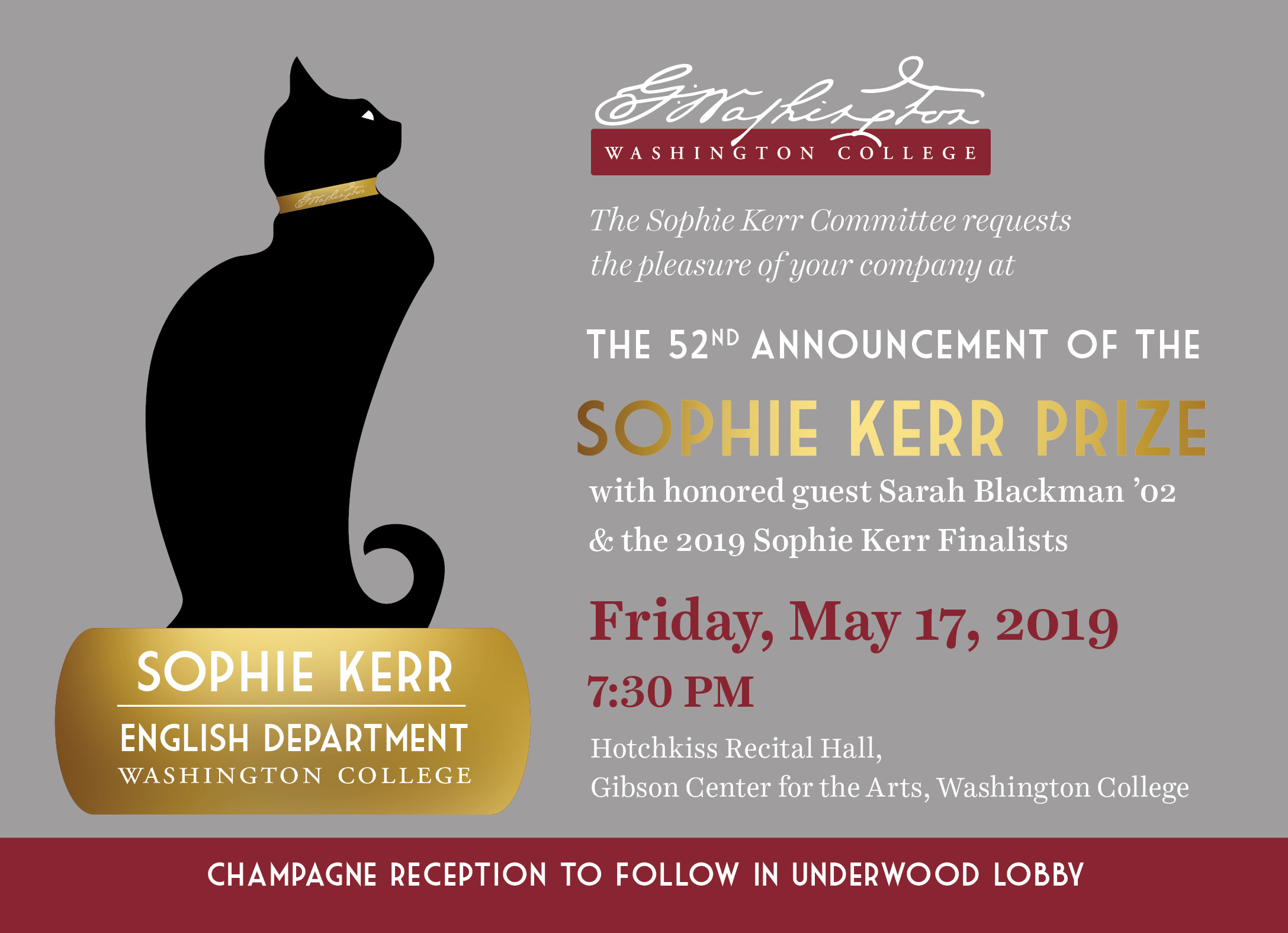 The 52nd Announcement of the Sophie Kerr Prize