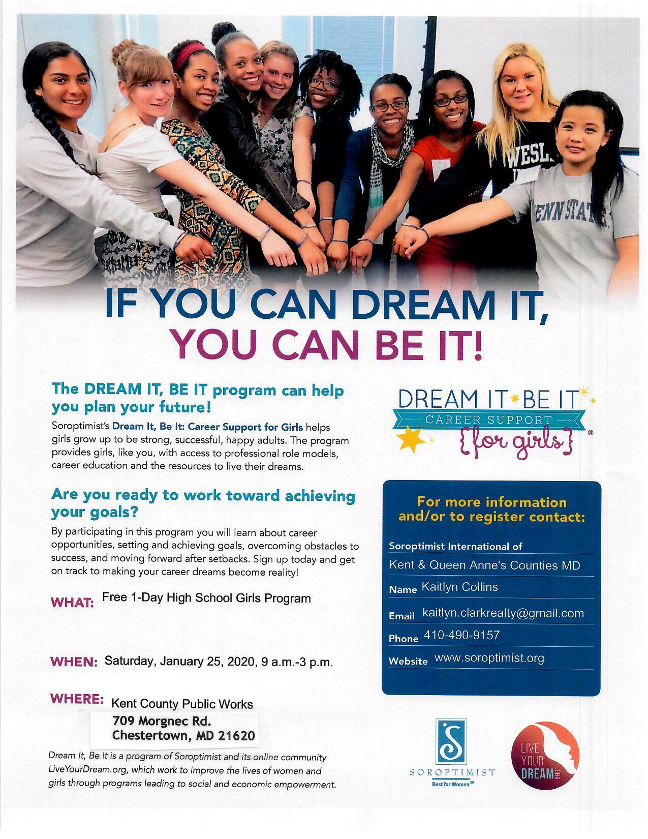 Soroptimist's Dream It Be It Support For Girls Program