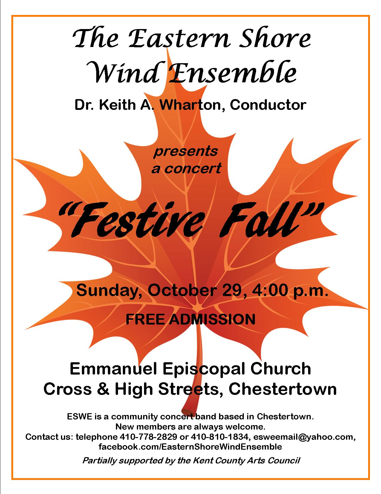 Festive Fall Band Concert by the Eastern Shore Wind Ensemble - Free Admission