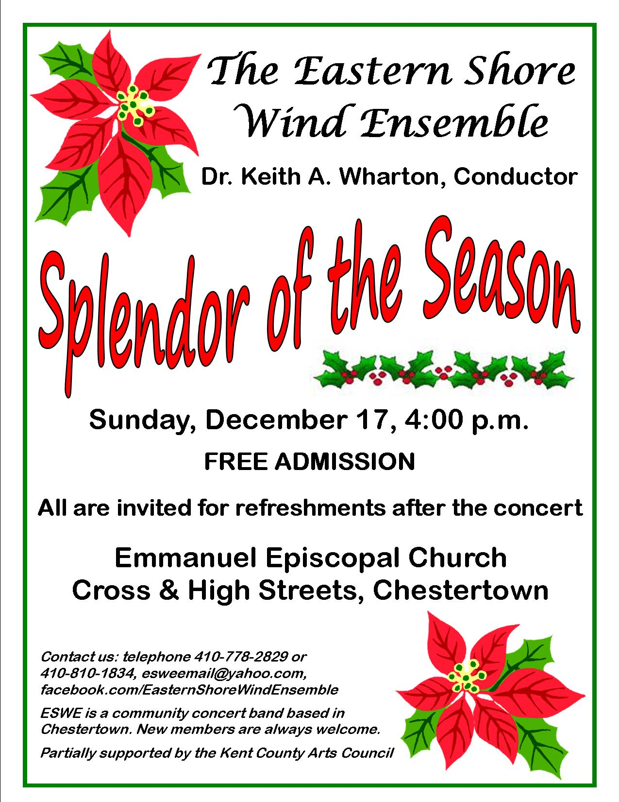 Splendor of the Season: Free Band Concert by the Eastern Shore Wind Ensemble
