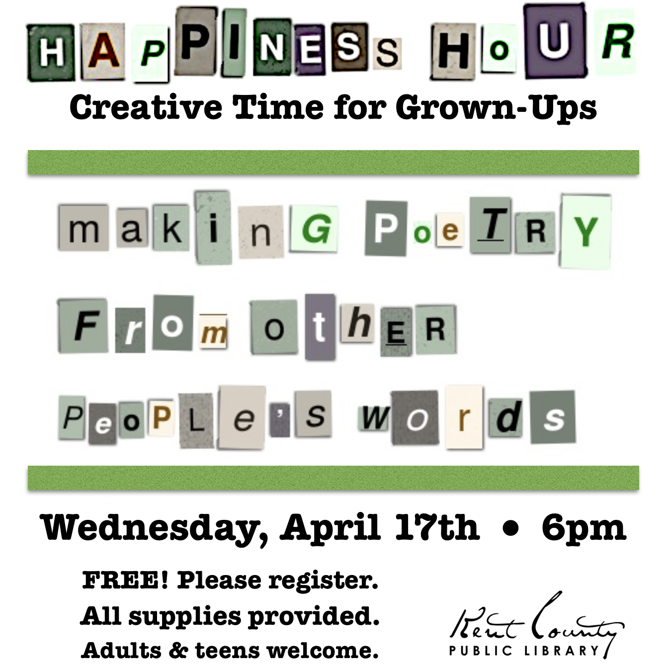 Happiness Hour: Creating Poetry from Other People's Words