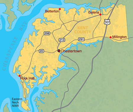 Map of Kent County located on Maryland's Upper Eastern Shore